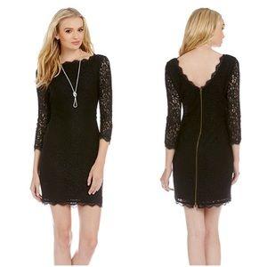 Adrianna Pappel Black scalloped lace sheath dress